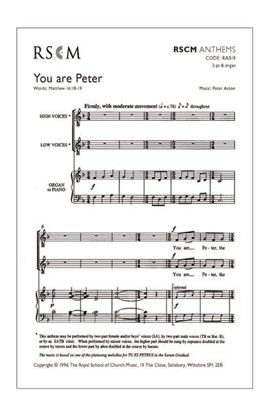 Aston: You are Peter (2-pt or SATB)
