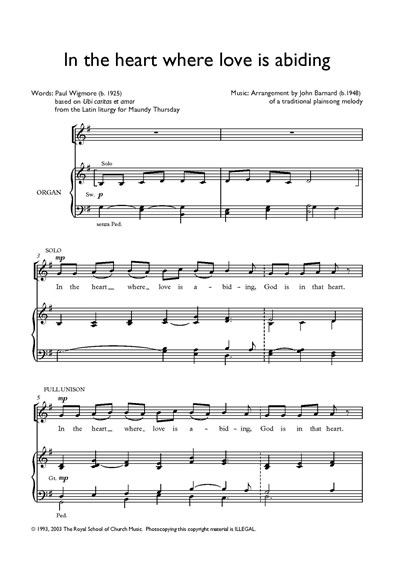 Barnard: In the heart where love is abiding (SATB or U)
