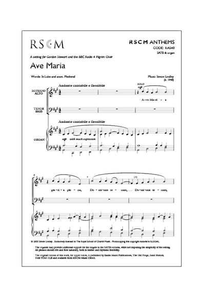 Lindley: Ave Maria SATB Version