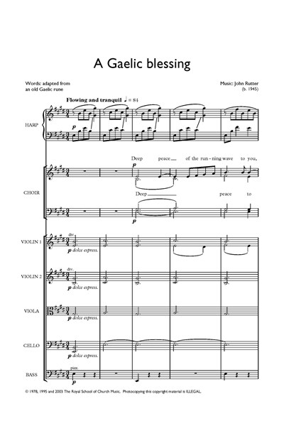 Rutter: A Gaelic blessing (Instrumental parts + Full score)