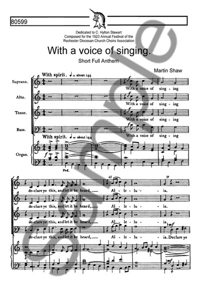 Shaw: With a voice of singing (SATB)