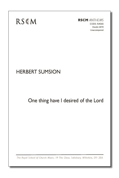 Sumsion: One thing have I desired of the Lord
