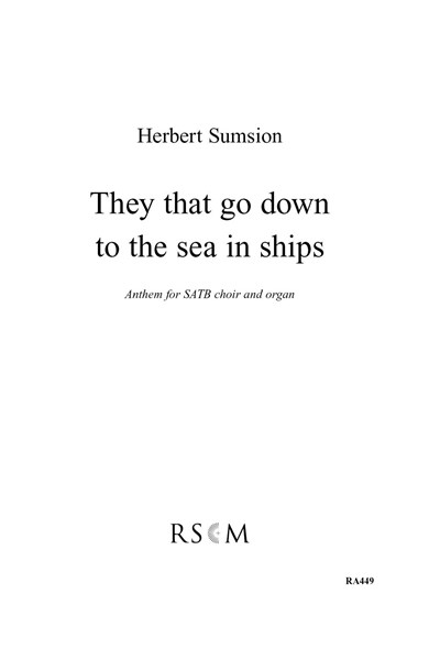 Sumsion: They that go down to the sea in ships