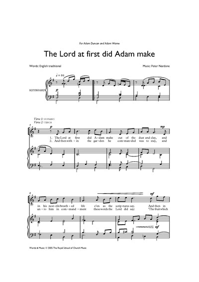 Nardone: The Lord at first did Adam make