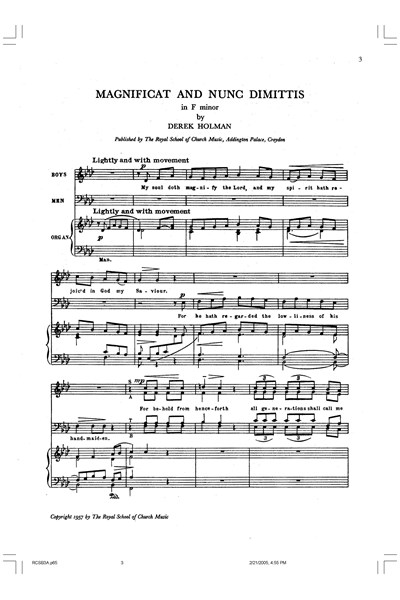 Holman: Magnificat and Nunc dimittis  F minor