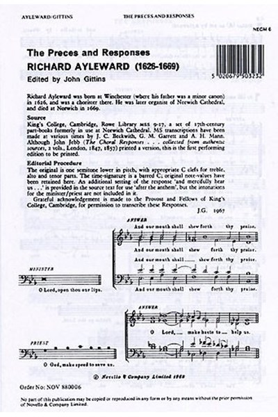 Ayleward: The Preces and Responses (SATB) (ed. Gittins)
