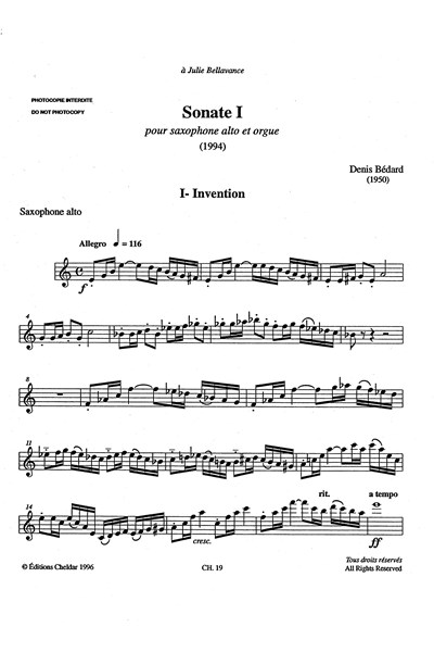 Bedard: Sonate I for alto saxophone and organ