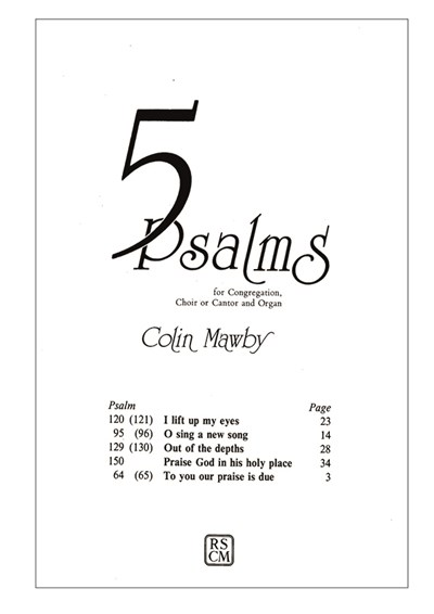 Mawby: Five Psalms for congregation, choir, cantor and organ
