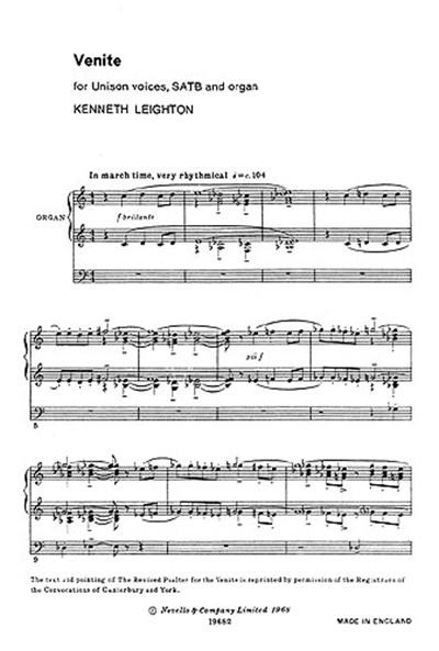 Leighton: Venite Unison/Satb/Organ