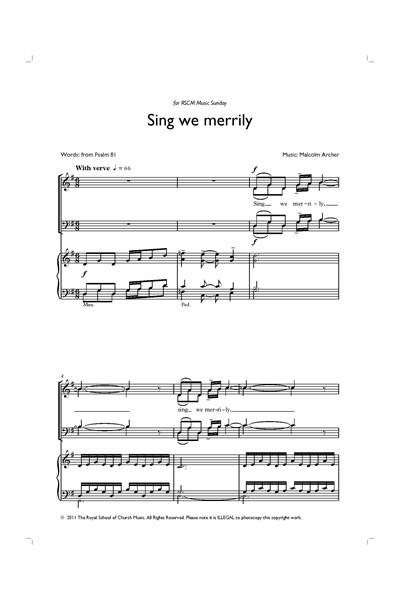 Archer: Sing we merrily - anthem for Music Sunday