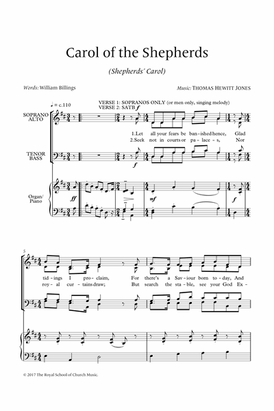Hewitt Jones: Carol of the Shepherds for SATB and organ or piano
