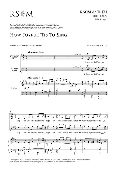 Maxim: How joyful 'tis to sing