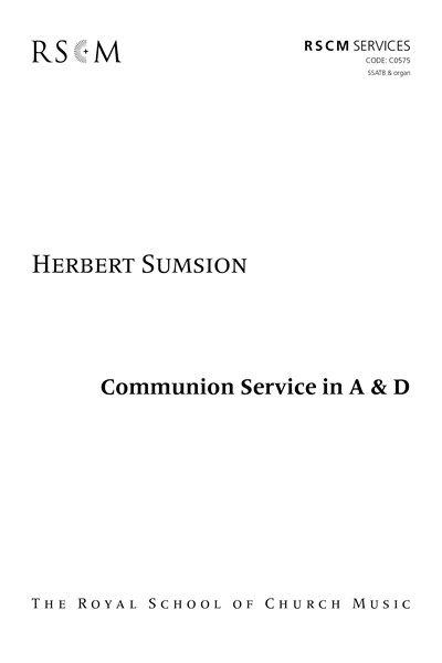 Sumsion: Communion Service in A and D