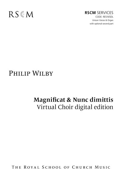 Wilby: Magnificat and Nunc Dimittis for Unison Voices Virtual Choir Kit